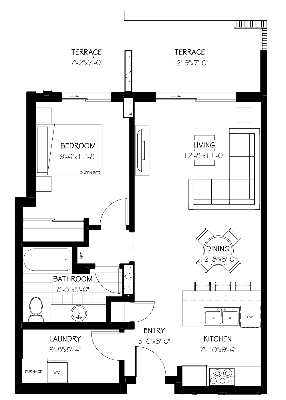 The Cody Suite, 870 SF
