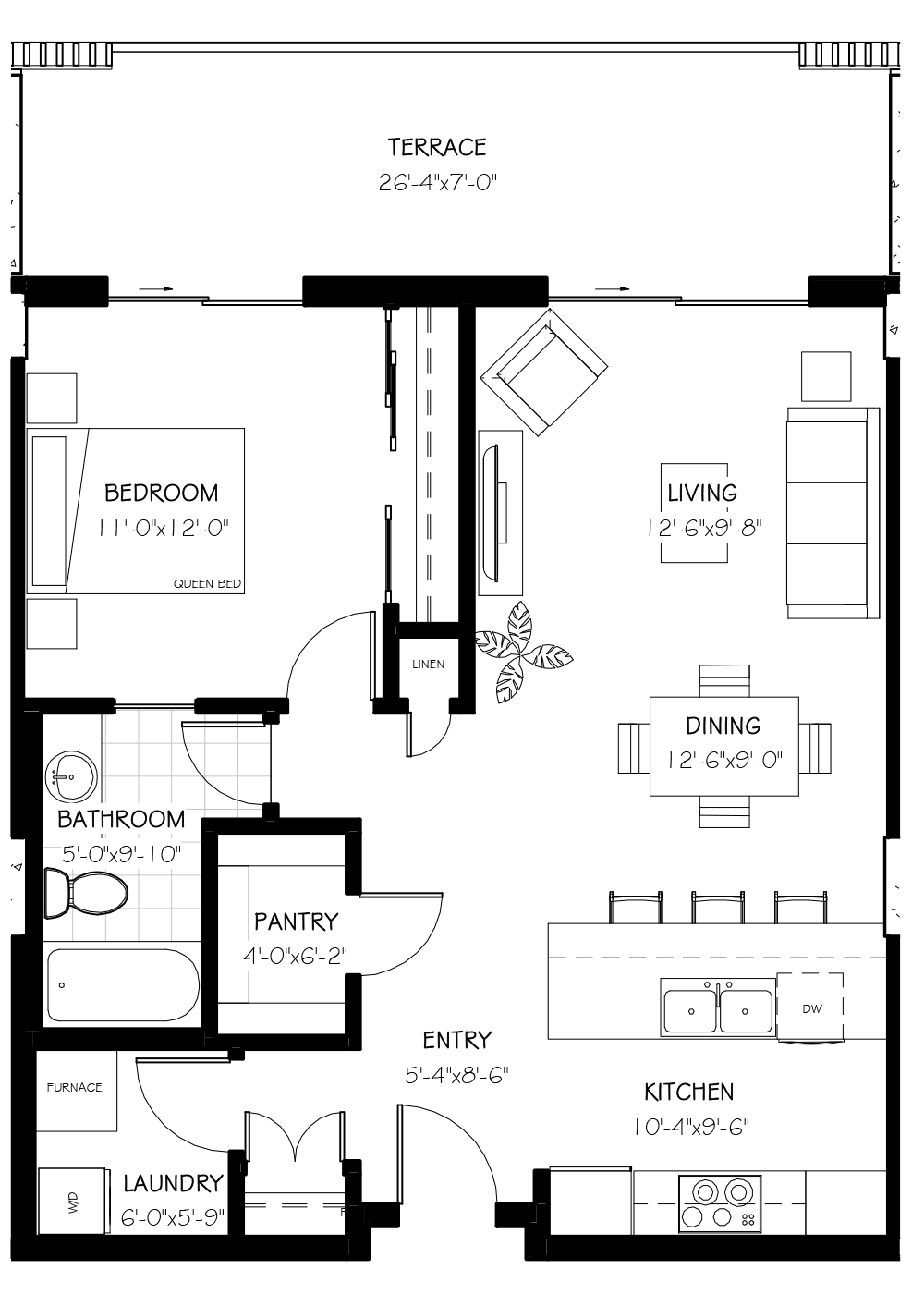 The Frey Suite, 990 SF